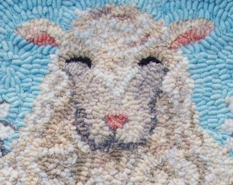 Sheep rug Hooking PATTERN on linen: Outstanding in Her Field