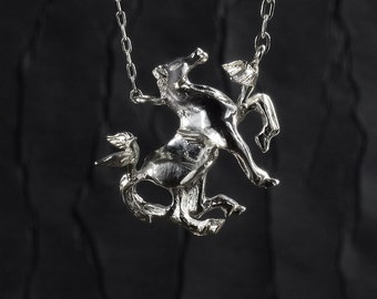 Horse And Swallows Carved Sterling Silver Necklace