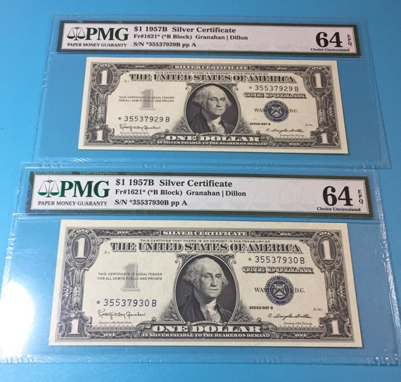 1957 B Lot of 2 1 Silver Certificate Star Notes PMG 64 Ch