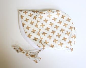 Swiss Cross Bonnet // Baby Bonnet // Baby Sun Bonnet // Brimmed Bonnet // Spring Bonnet // Summer Baby Bonnet // Made to Order