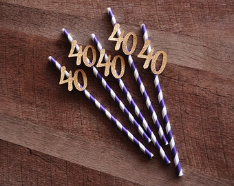 40th Birthday Decoration Straws 10CT.  Handcrafted in 2-5 Business Days. Purple Straws with Gold 40.