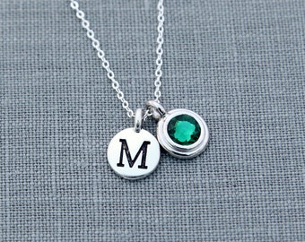 Personalized Birthstone Necklace with Initial, New Mom Jewelry, Emerald Necklace, May Birthstone Initial Necklace