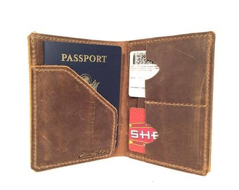Passport Wallet - Brown Pullup Leather