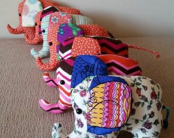 Elephant softies, cotton prints, nursery decor, soft toys, Australian handmade