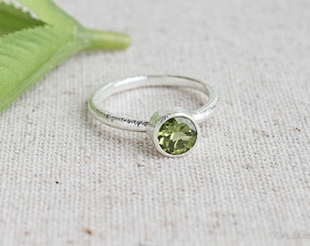 Peridot Sterling Silver Ring, August Birthstone