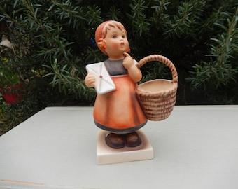 Hummel Vintage, Geobel, Meditation c 1940s-50s, 13.0, Square Base, Bee in V, German Figure, Hummel Meditation Figurine