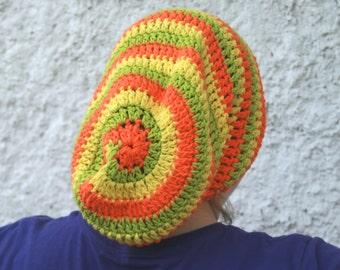 Citrus Swirl Slouchy Hat in Cotton - Lime, Orange, and Lemon Hat - Cotton Slouchy Hat in Citrus Colors , Crochet Hat