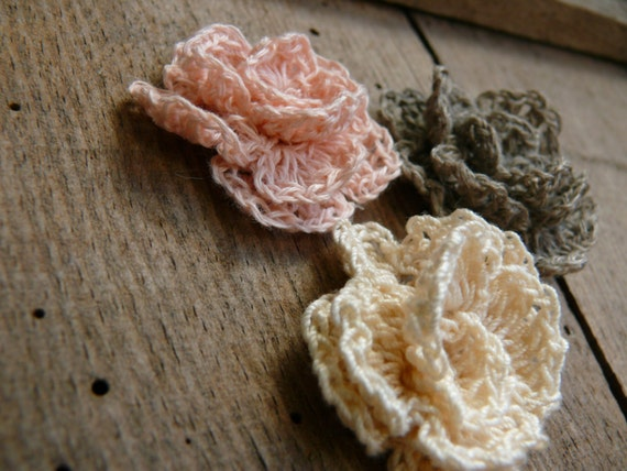 Häkelarbeit-Blume für Brosche Häkeln Leinen Rose Leinen
