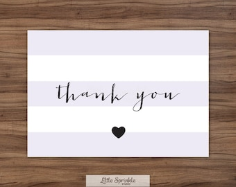 Baby Shower Thank You Card Lavender Stripes / Purple Baby Girl Shower / Printable Thank You Card / Printable Digital / INSTANT DOWNLOAD