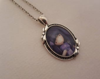 Necklace mid-length cabochon
