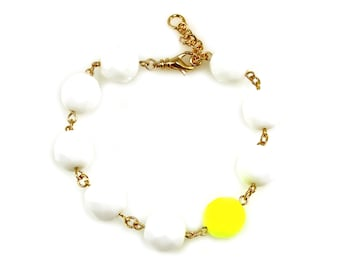 SALE Neon Yellow Statement Bracelet, White Statement Bracelet, Neon Yellow Bracelet, White Bracelet, Neon Statement Bracelet, Neon Jewelry