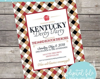 143 Kentucky Derby Party Run for the Roses Customizable Invitation (matching current derby party supplies)