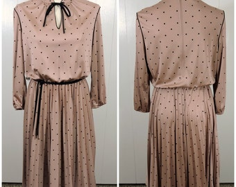 Brown Vintage Polka Dot Dress / Kay Windsor Dress / 60s 70s Retro Dress