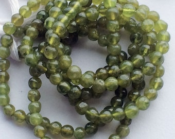 Vessonite Beads, Green Plain Round Beads, Vessonite Necklace, 6mm Beads, 13 Inch Strand, 63 Pieces, Wholesale Price