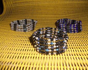 Magnetic Hematite Wrap Bracelet Necklace, Magnets, Lariet Necklace, Wrap Bracelet, Hematite Necklace, Hematite Bracelet, Beaded,  Black/Blue