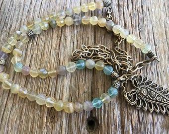 Fluorite necklace with bronze paisley pendant, bohemian long necklace, gemstone necklace, boho jewelry boho necklace