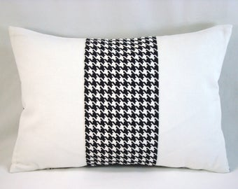Black White Houndstooth Pillow Check Pillow Accent Pillow 11x16