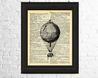 Vintage Balloon Digital Image, Dictionary Page Art Instant Download - Hot Air Balloon Print, Printable Art, Hot Air Balloon Digital Image
