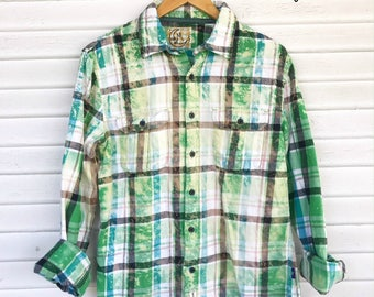 MEDIUM - Flannel Shirt - Bleached - Vintage Washed Flannel - Oversized Flannel - Distressed Flannel - Plaid Shirt - Fall Shirt - #101 BM