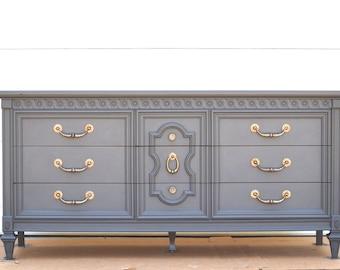 PORTFOLIO  Upcycled Vintage Dresser - Graphite Chalk Painted Wood Credenza / Buffet Bassett