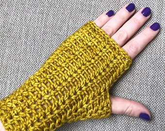 Mustard Fingerless Gloves, crochet hand warmers, knitted gloves, wrist warmer, texting gloves, hand dyed premium extra fine merino gloves