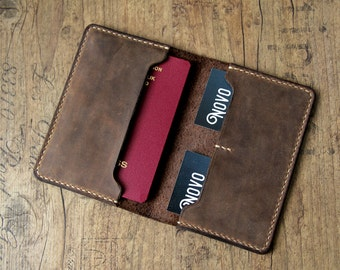 Leather Passport case for passport cover brown handmade minimalist vintage slim