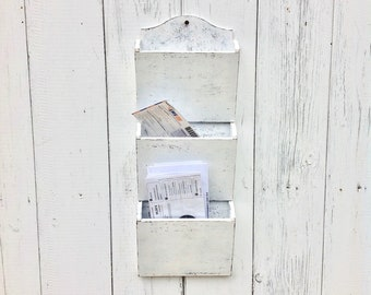 White entryway mail organizer wall holder Wood wall organizer mail slots Entryway mail storage Entryway organizer wall mount mail
