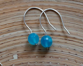 Turquoise Aqua Blue Agate Sterling Silver Earrings