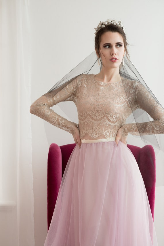 Black Veil, Black Bridal Veil, Drop Veil, Drop Wedding Veil, Blusher Veil, Fingertip Length Veil, Black, Gothic Wedding Gown BIANCA