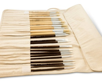 Solabela Artist Brushes. Set of 24 w/ Canvas Roll-up Pouch - Montreal