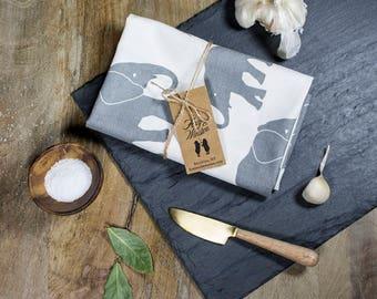 Grey Elephant Tea Towel - GOTS Certified Dish Towel - Organic Cotton Kitchen Towel - Elephant - Tea Towels - Dish Towels