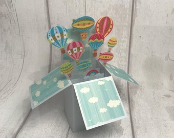 Birthday Pop Up Card, Personalised Card for Birthday, Box card, Balloon card, New Baby card, 3D Greeting Card, Happy Birthday Card