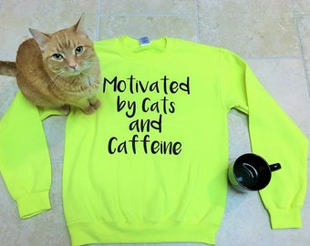 Motivational Sweatshirt for women, sweater, jumper, Cats and coffee, funny sweatshirts, bestie, cat lover gift, cozy slouchy pullover