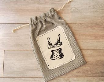 Bag for lingerie, storage bag for underwear, vintage, French lingerie, lingerie bag travel bag