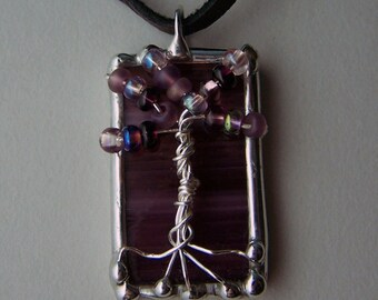 Tree of life pendant, soldered stained glass, wire wrapped purple e beads, Soldered Glass Charm, Artisan Made, Black Leather Lace Cord