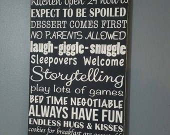 Grandparent's House Rules painted wood sign can be personalized NO VINYL your choice of colors. Wall art Nana's Gammy's Any Nick Name Avail