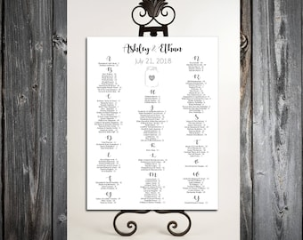 Mason Jar Seating Chart for Table Assignments for your Wedding Reception - Printable PDF File