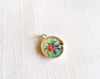 Christmas Holly hand painted watercolor small charm illustration