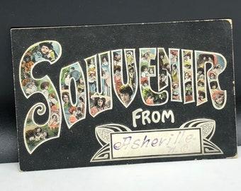 1907 ANTIQUE POSTCARD EPHEMERA paper collectible post card souvenir uncirculated divided back North Carolina Asherville risque swimsuit girl
