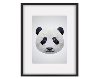 Print DIN A4 // Panda // geometric // polygonal