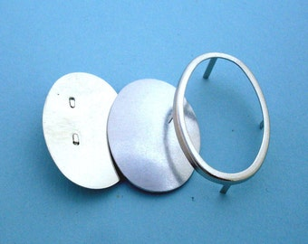Silver Oval Pin Setting Frame Mounting 150ST