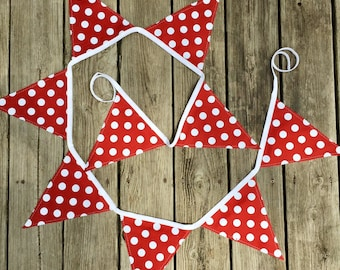 Crimson fabric banner - crimson decor - college football decor - RV decor  - polka dot bunting - tailgate party banner - polka dot banner