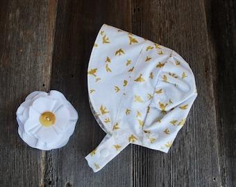 Garden Bonnet, reversible baby bonnet, sun bonnet, modern bonnet, sunhat, baby girl, toddler hat, retro baby, baby gift, Christening Bonnet