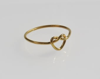 Gold 925 Heart Knot Ring , Love Knot Ring, Maid of Honor Gift, Love Ring, Love Knot Jewelry, Friendship Ring, Knotted Ring, Promise Ring