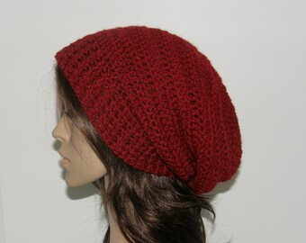 Everyday Extra Slouch Hat - Cranberry - made to order - long slouch hat