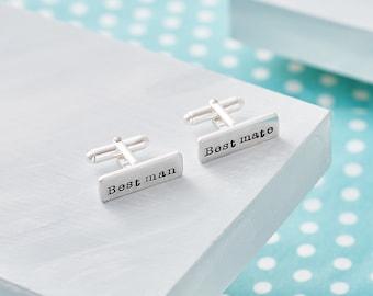 Best Man Cufflinks - Hand Stamped Wedding Cufflinks - Keepsake Gift for Best Man - Best Man Gift - Sterling Silver