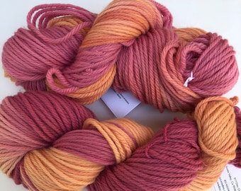 dyed hot pink/Orange hand dyed yarn-Hot pink/Orange Yarn- chunky Weight yarn-Hand Dyed - chunky Yarn Dyed-Hot Pink heavy worsted-Variegated