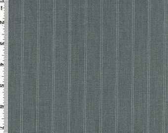 Charcoal Pinstripe Suiting, Fabric By The Yard
