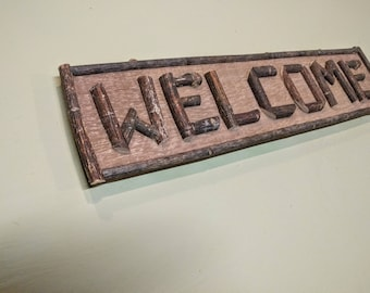 Rustic twig sign WELCOME Adirondack home decor camp cabin sign