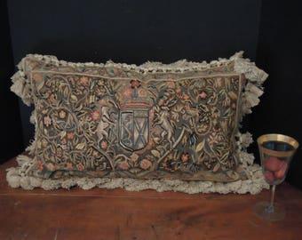 Vintage Belgian Tapestry and Velvet Pillow / Aubusson Pillow